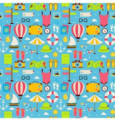 Flat beach travel resort vacation seamless pattern vector
