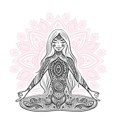 Vintage  girl in a meditation pose vector