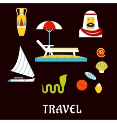 Egypt travel and beach vacation flat icons vector