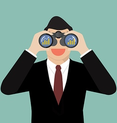 Businessman use binoculars looking for business vector