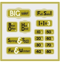 Sale and discount set of vintage labels vector