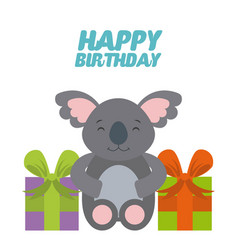Animal cute birthday party celebration vector