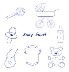 Baby stuff blue line-art vector