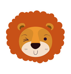 Colorful caricature cute face of lion wink eye vector