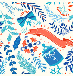 colorful winter natural seamless pattern vector image