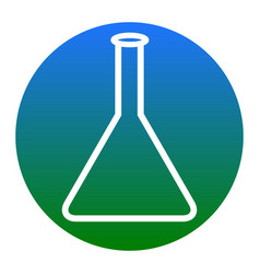 Conical flask sign white icon in bluish vector