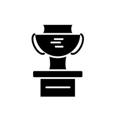 cup winner podium icon black vector image
