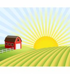 farm and fields at sunrise vector image