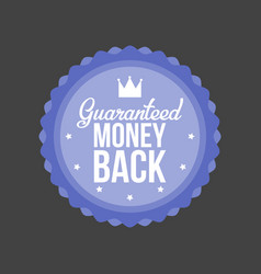 Guaranteed money back blue badge vector