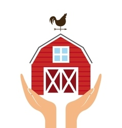 Hands with red barn icon vector