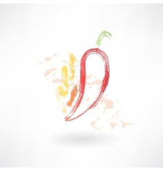 hot pepper grunge icon vector image vector image