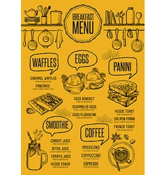 Menu breakfast restaurant food template placemat vector