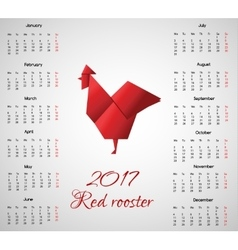 New year calendar with chinese symbol Red Rooster vector image