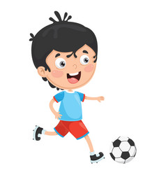 of kid playing football vector image vector image