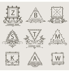 Set ornamental arabesque emblem logos vector image