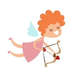 Silhouette of cartoon cupid angel flying valentine vector
