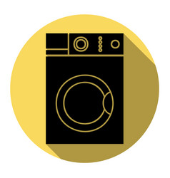 Washing machine sign flat black icon with vector