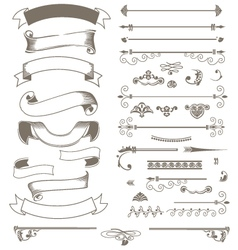 Vintage ribbons and design elements set vector