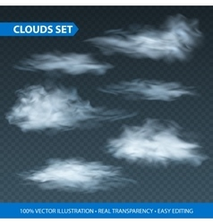 Transparent clouds realistic set on transparence vector image