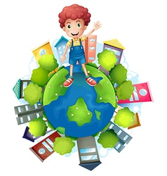 A boy above the planet earth vector image