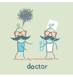 Doctor treats the patient vector