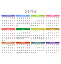 2016 year annual calendar Monday first English vector image