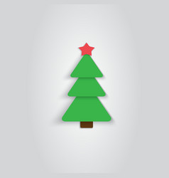 Paper Christmas Tree Icon New Year Flat Style vector image