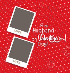 Blank instant couple photo frame lovely on red vector