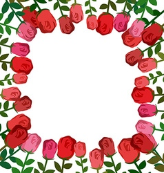 Frame of roses red background beautiful flowers vector