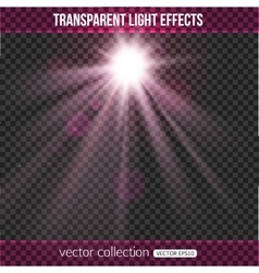 Glowing sun with lights effect over transparent vector