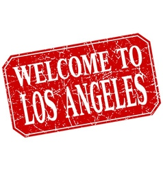 Welcome to los angeles red square grunge stamp vector