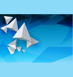 Abstract whirte triangles 3d blue sky background vector