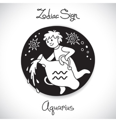 Aquarius zodiac sign of horoscope circle emblem in vector image vector image