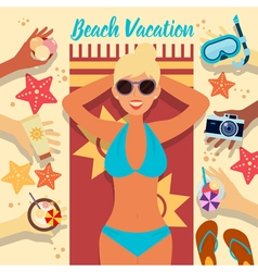 Beach vacation summer time woman on the beach vector