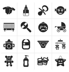Black baby children and toys icons vector