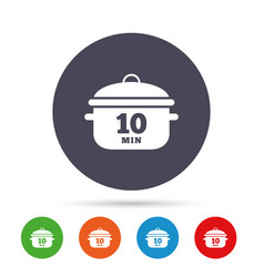 Boil 10 minutes cooking pan sign stew food vector