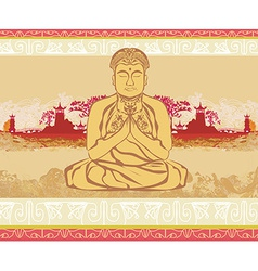 Buddha - abstract card vector image