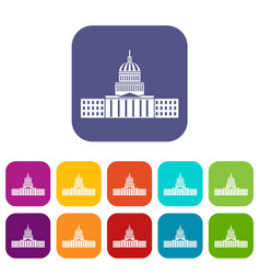 Capitol icons set vector