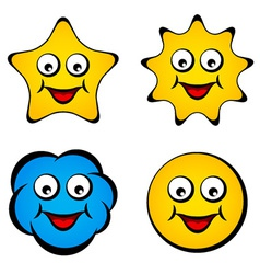 Cartoon smiling face star sun cloud smiley vector