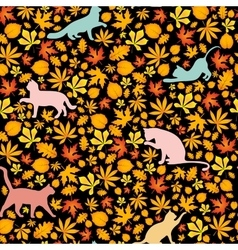 cats and autumn leaves seamless pattern vector image vector image