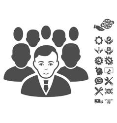 Crowd icon with tools bonus vector