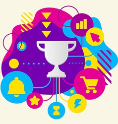 Cup winner on abstract colorful spotted background vector image vector image