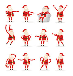 different santa s movements on white background vector image vector image