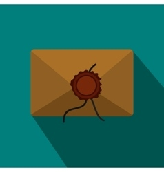 Envelope with red wax seal icon in flat style vector image