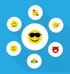 flat icon expression set of party time emoticon vector image