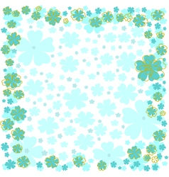Floral frame with blue flowers on white background vector