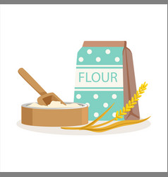 Flour in a craft paper bag and wooden bowl with vector