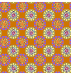 Fractal mandala seamless pattern on orange vector
