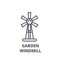 garden windmill line icon outline sign linear vector image