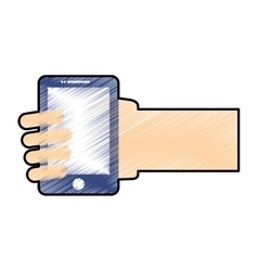 Hand holding a smartphone vector